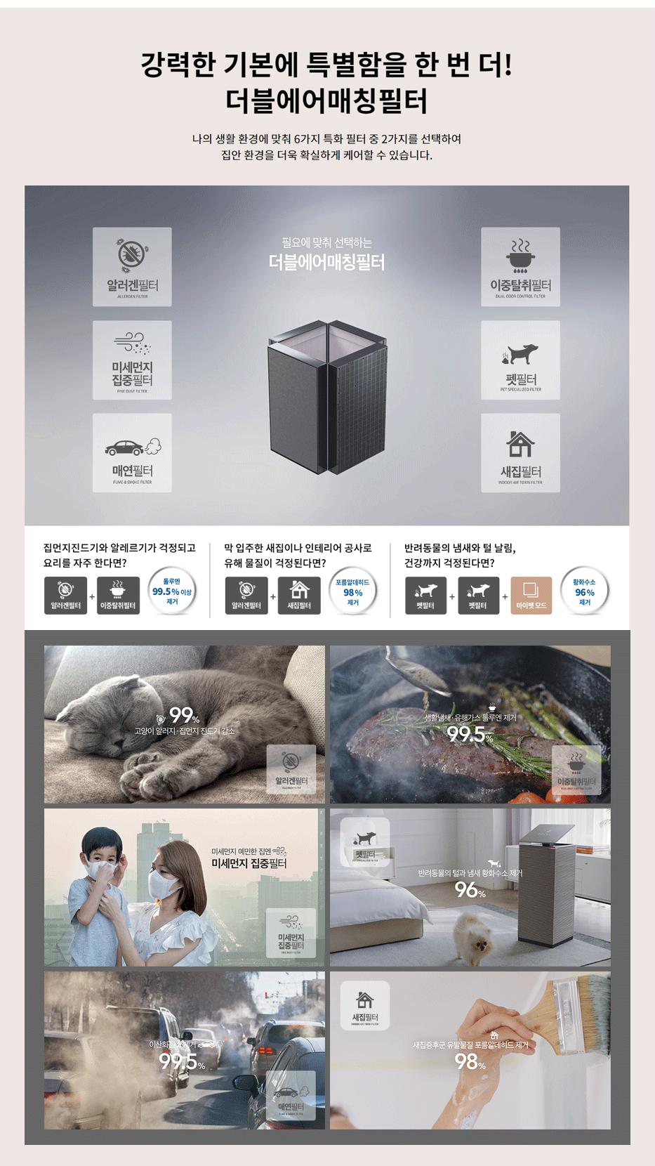 코웨이 AP-2021A 노블 공기청정기 코웨이만의 혁신적인 에어 테크놀로지 4D 프리필터, 멀티큐브 탈취필터, 에어클린 항균필터